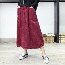 Шикарный карман сплошной цвет вельвет Винтаж бутон юбка Мори для девушки осень зима