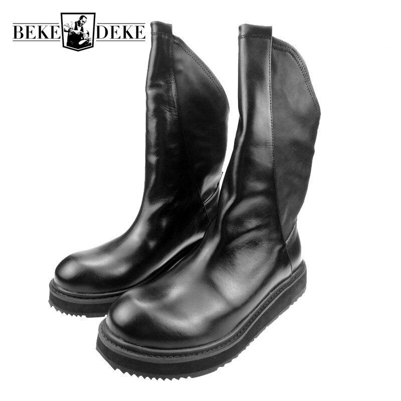 Mens Véritable Slip En Cuir Sur Cowboy Punk Cheville Martin Bottes Gothique Combat Chaussures Bout Rond Rétro Moto Botas Homme Chaussures