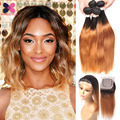 Grade 8A Ombre Straight Hair With Closure Silky Straight Human Hair Lace Closure With Hair Bundles Blonde Ombre Hair Weave