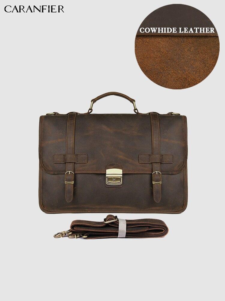 CARANFIER Mens Briefcases Crazy Horse Genuine Cowhide Leather Computer Bags Businessmen Vintage Flap Pocket Messenger Handbags