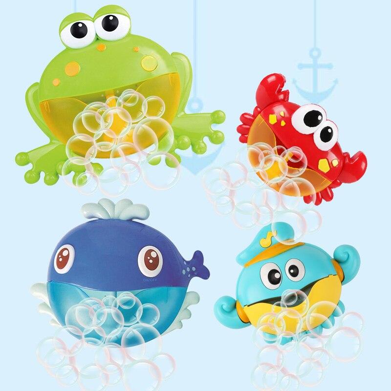Juguete de baño para bebé, Rana burbuja y jabón de burbujas de cangrejo para juguete de burbujas para niños, máquina de baño, burbuja divertida, juguetes de baño líquidos para niños 2020 nuevos niños niñas pijamas de manga corta conjunto lindo animal de algodón pijamas niños ropa de dormir ropa de bebé pijamas 1-7Y