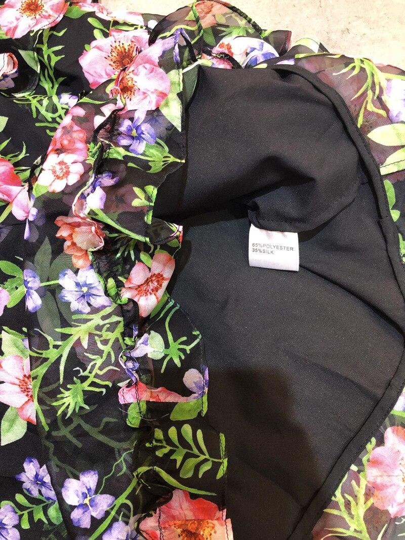 2019 Floral Impression Douille Le cou D'o Genou longueur Longues Pour Robes Printemps Multi À Volants Femmes Style En Été Cascade Robe K019 Pleine Vintage FpPq5H