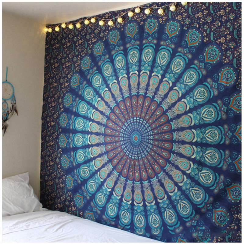 150*210cm Large Mandala Indian Beach Mat Polyester Thin Blanket Tapestry Wall Hanging Bohemian Yoga Shawl Mat Blankets
