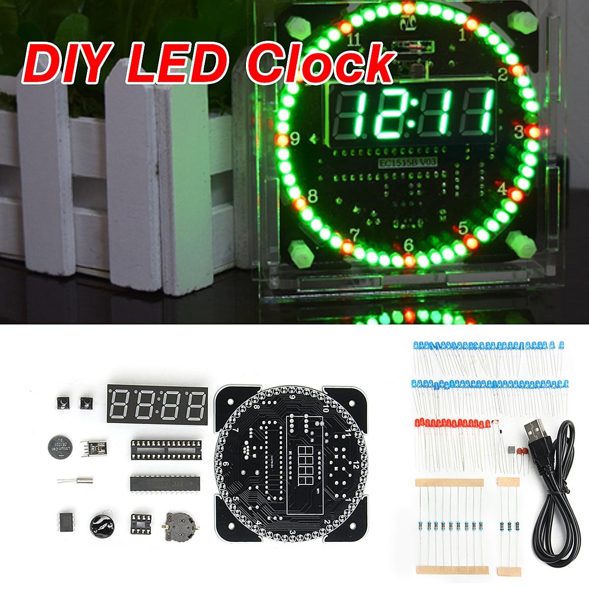 US $9 01 32% OFF|DIY LED Electronic Digital Alarm Clock DS1302 Rotating Kit  51 SCM Learning Board 5V xp Date Display Principle Design-in Alarm Clocks