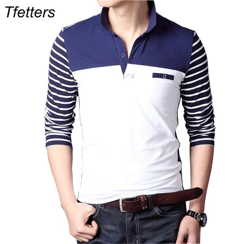 TFETTERS Spring Autumn Casual Men Long Sleeve   T  -  shirt   Cotton Elastic Slim Fit Dress   T     Shirt   Men V-Neck Stripe Men Tops & Tees