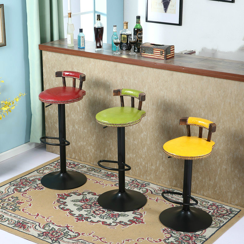 2pcs/lot Retro Design Bar Chair Swivel Lifting Bar Stool with Footrest Rotating Adjustable Height Pub Bar Stool Chair cadeira the bar chair hairdressing pulley stool swivel chair master chair technician chair