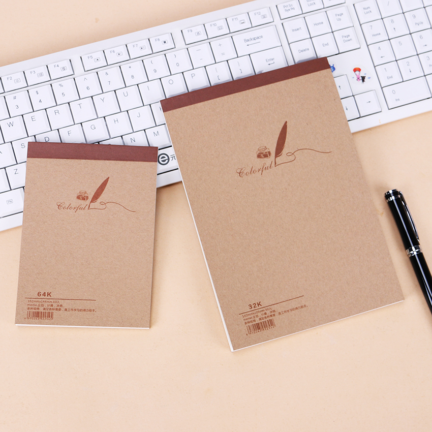 1PC Wooden Kraft Paper Blank Graffiti Notebook Paper Diary Journal Notepad Office School Travelers Drawing Gift Stationery