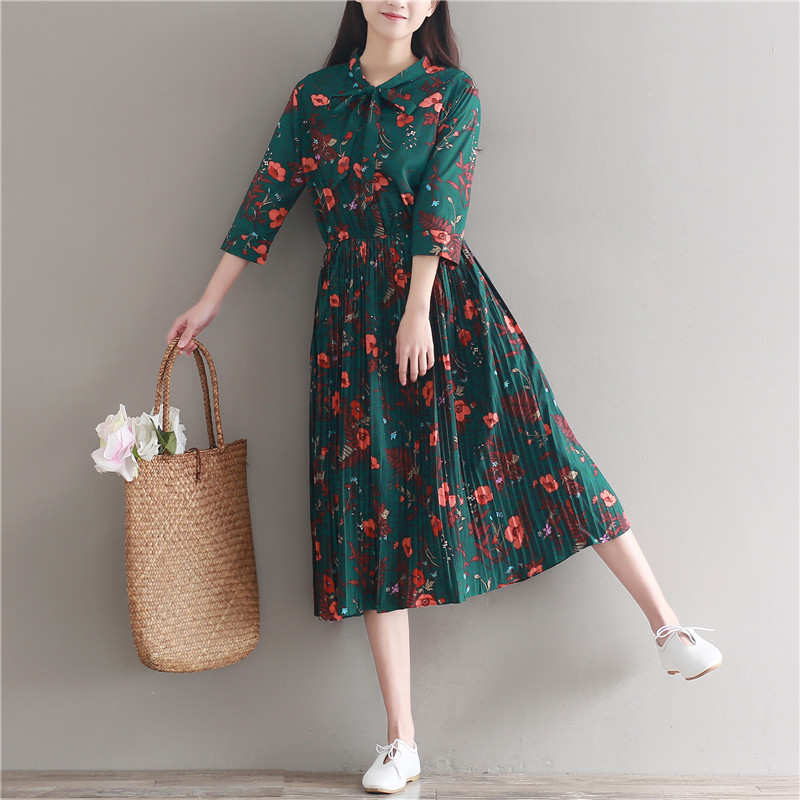 65d5b06a27f Bow Collar Chiffon Dress Women Casual Vintage Green Flower Print Three  Quarter Sleeve Retro Spring Summer High Waist Dresses P10-in Dresses from  Women s ...