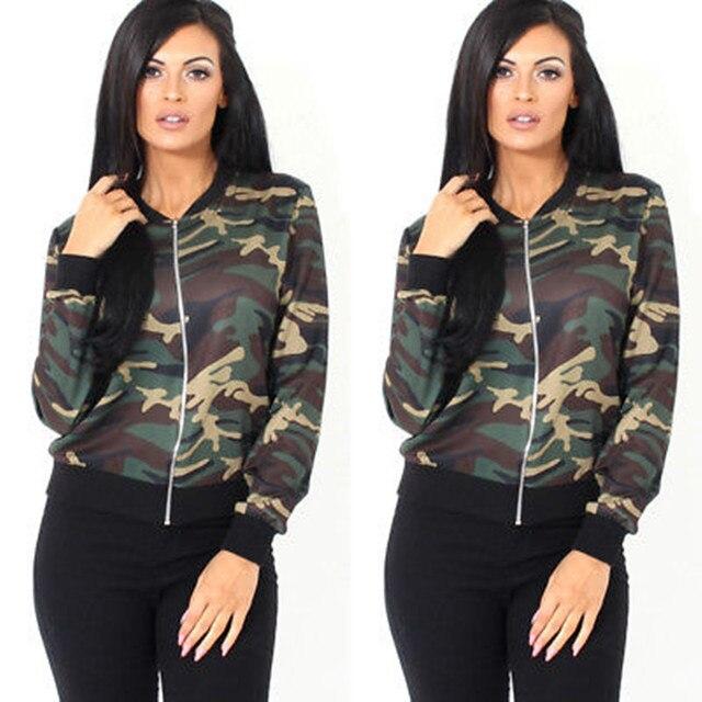 5e227cfbf US $13.25  Fashion Women Vintage Military Camo Classic Padded Bomber Jacket  Camouflage Coat Women's Fashion Jackets-in Basic Jackets from Women's ...