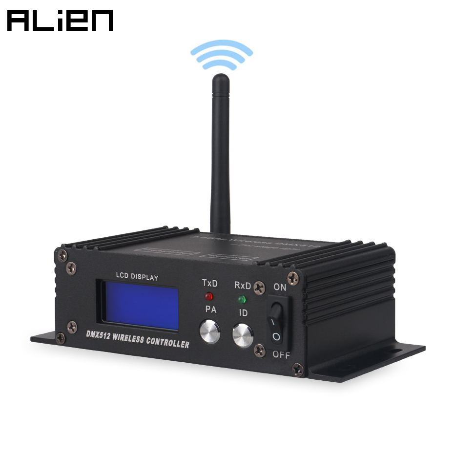 ALIEN 2.4G Wireless DMX 512 Controller Receiver Transmitter LCD Display Power Adjustable For Disco DJ Party Moving Head Light