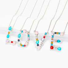 купить Multicolor Charm 26 Letters Zircon Necklace Women Men Romantic Zircon Initial A-Z Letter Pendant Silver Gold Chain Jewelry дешево