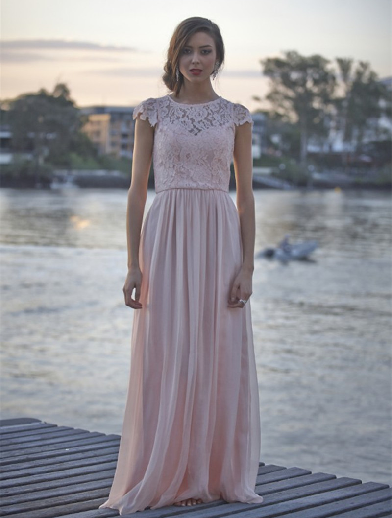 2017 blushing lace chiffon long modest bridesmaid dresses with cap 2017 blushing lace chiffon long modest bridesmaid dresses with cap sleeves a line floor length country style brides maid dress in bridesmaid dresses from ombrellifo Gallery