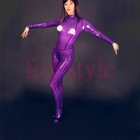0.4 mm sexy transparent purple catsuit for ladies with feet
