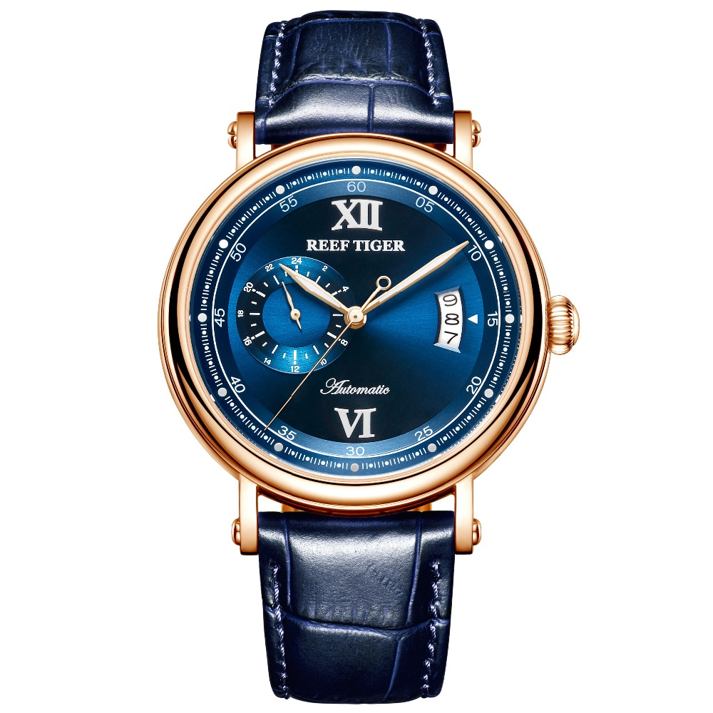 Reef Tiger/RT Luxury Watch Men Creative Watches 2019 New Rose Gold Automatic Watch Big Date Blue Analog Watch 5 Bar RGA1617-2Reef Tiger/RT Luxury Watch Men Creative Watches 2019 New Rose Gold Automatic Watch Big Date Blue Analog Watch 5 Bar RGA1617-2