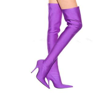 Green/purple stretch boots Spring and autumn new pointed toe high heel over-the-knee long boots for women Ladies thin heel boots hot 2017 new fashion sweet womens high boots spring autumn ladies over the knee boots casual women boots for women t26 1