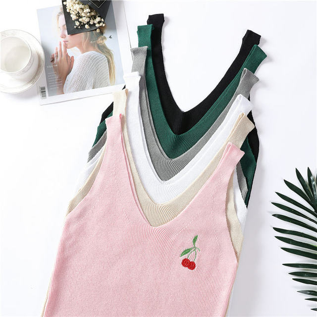 2018 Embroidery Knitted Tank Tops Womens Fashion Sexy V-neck Camis High Elasticity Casual Tank Top Female Cherry Camis Summer
