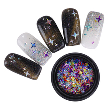 NICOLE DIARY Holographic Gold Silver Nail Sequins Four Angle Stars Laser  Multi-size Nail Art ccb4a1e2643a