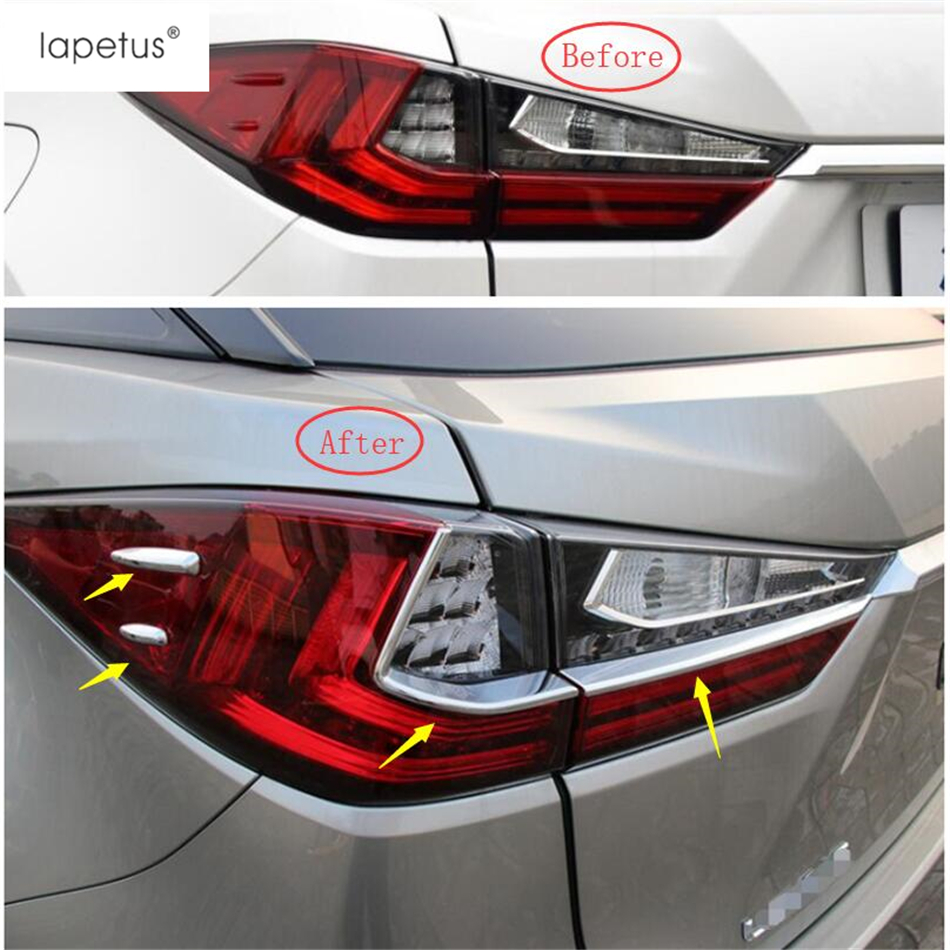 Lapetus Accessories Fit For <font><b>Lexus</b></font> <font><b>RX</b></font> RX450h 2016 <font><b>2017</b></font> 2018 2019 2020 ABS Chrome Rear Tail Trunk Lights Lamp Strip Cover Trim Kit image