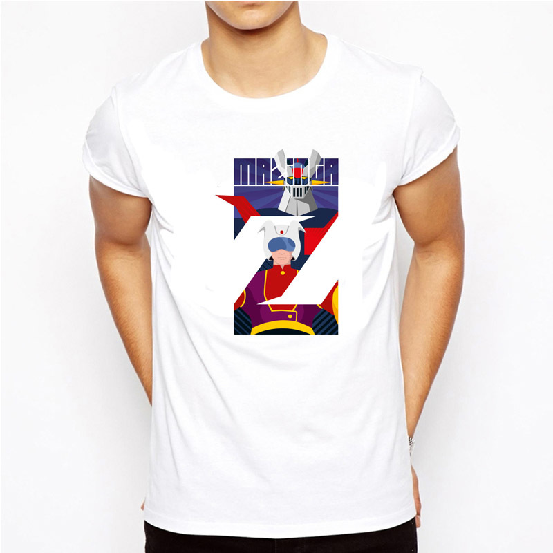 <font><b>mazinger</b></font> <font><b>z</b></font> <font><b>T</b></font> <font><b>Shirt</b></font> men Summer fashion High Quality <font><b>t</b></font>-<font><b>shirt</b></font> casual white print O-Neck print male men top tees MR9181 image