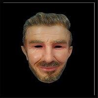 Top Grade Hot Popular Fancy Dress Costume Latex Crossdressing Male Famous Football Start David Mask Human Face Mask Beckham Mask