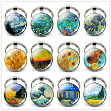Van Gogh Oil Painting Keychain Art Abstract Glass Cabochon Pendant Diy Metal Keyring Gifts for Him or For Her