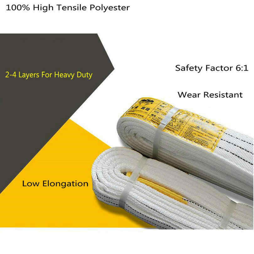 HQ SW02 Huishoudelijke Hoge Sterkte 100% Polyester Dubbele Laag Platte Hijsband Lifting Eye-eye Riem 50mm Breedte 2Ton SWL 6:1