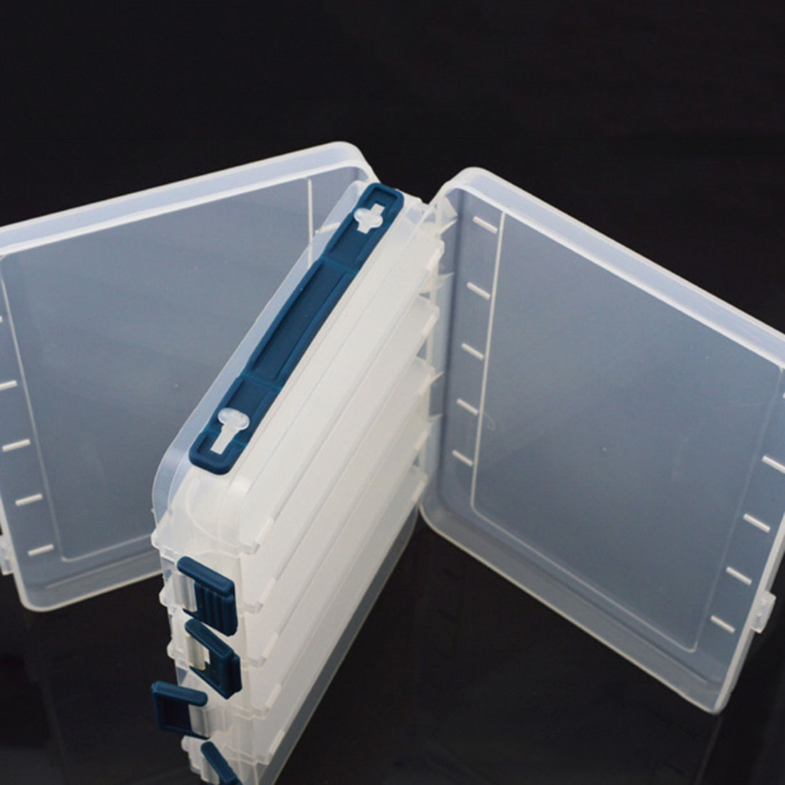 Portable 2 Layers Many Compartments Visible PVC Fishing Lure Bait Hooks Fish Tackle Box Accessory Storage Box Case Fishing Tool