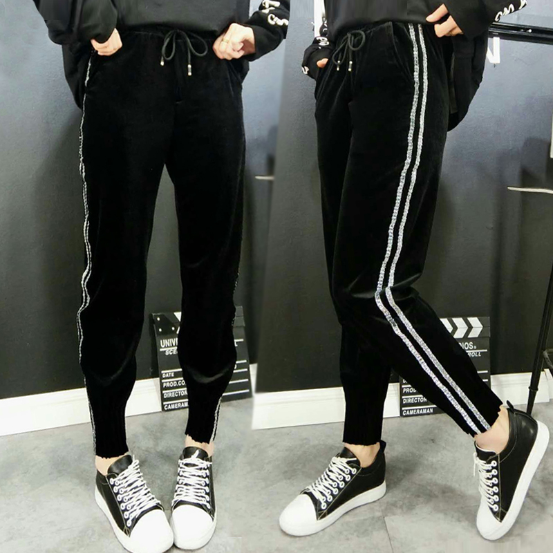 Top Fashion Women Side Striped Bronzing Harem Pants Women Black Casual High Waist Pants Drawstring Loose Trousers Pantalon Femm