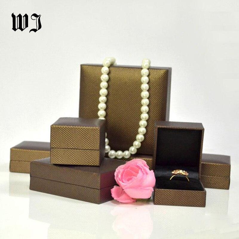 Retail Jewelry Set Box Ring Bracelet Pendant Necklace Organizer Wedding Engagement Gift Box Brown Lizard Pattern Leatherette