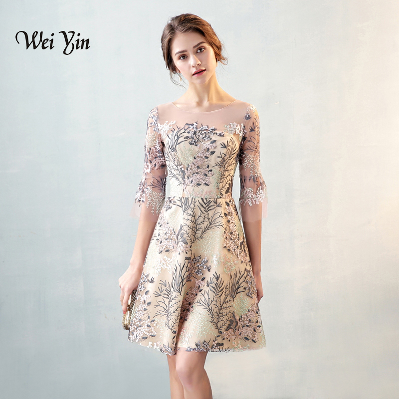 Weiyin robes de Cocktail courtes Mini fête formelle robes de soirée courte robe de Cocktail 2019 WY826