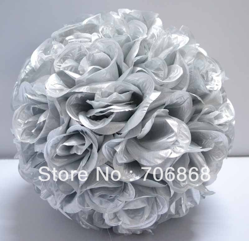 Silver color artificial silk kissing rose flower ball 30cm outer silver color artificial silk kissing rose flower ball 30cm outer diameter 10pcslot wedding church decoration in artificial dried flowers from home mightylinksfo