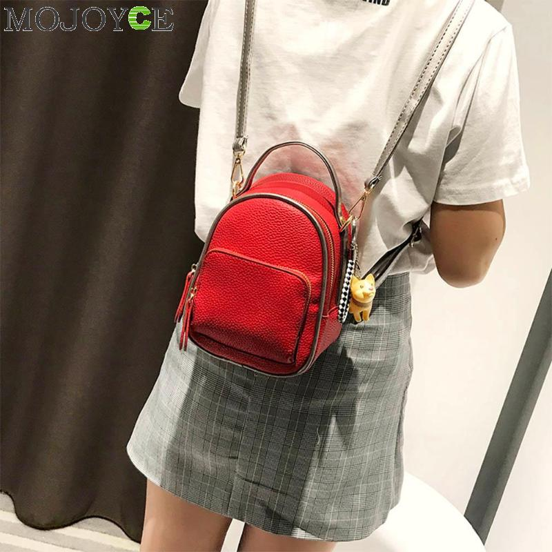 7599ae45b2 Female Backpack Cute Zipper Shoulder Bag Women Messenger Mini Small  Backpack College Wind PU Leather Simple Retro Leisure Bag -in Backpacks  from Luggage ...