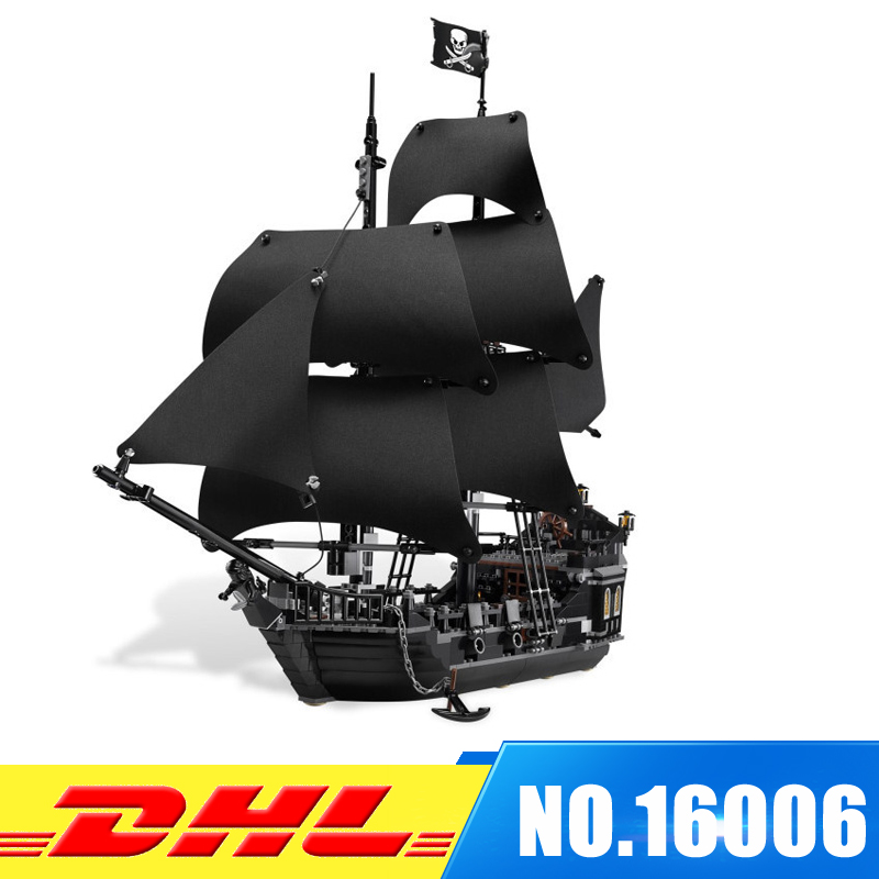 DHL LEPIN 16006 Pirates of the Caribbean The Black Pearl Building Blocks Set 4184 Lovely Educational Boy Toy For Children Game 1513pcs pirates of the caribbean black pearl general dark ship 1313 model building blocks children boy toys compatible with lego
