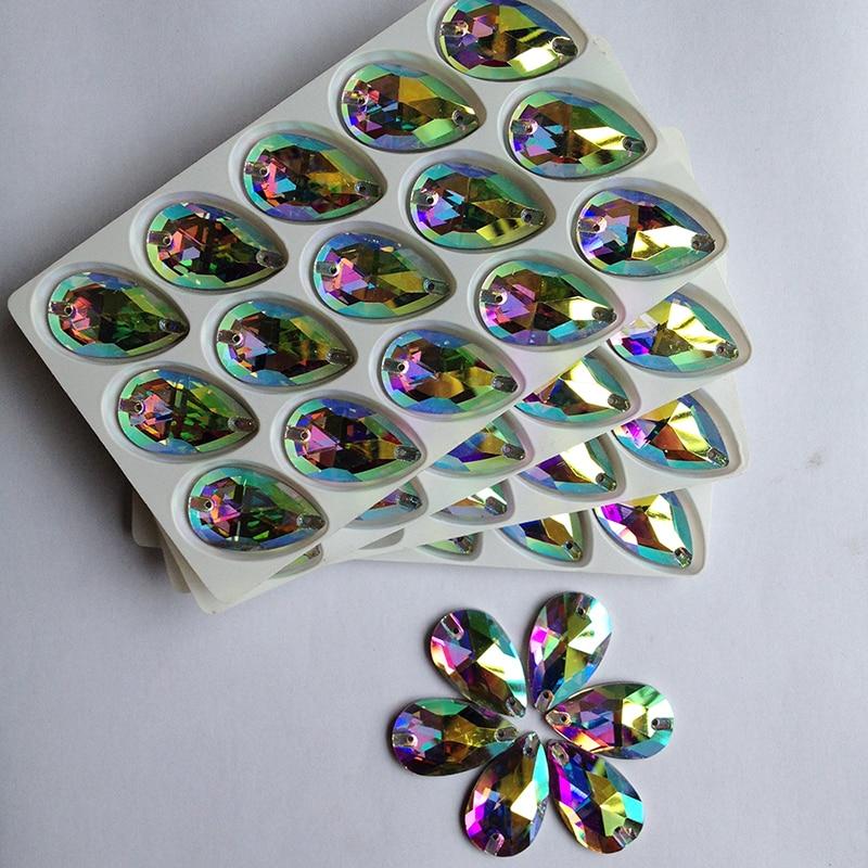 Kiváló minőségű Crystal AB varrni strasszos vízcseppek üvegkövekkel DIY Flatback strasszokkal