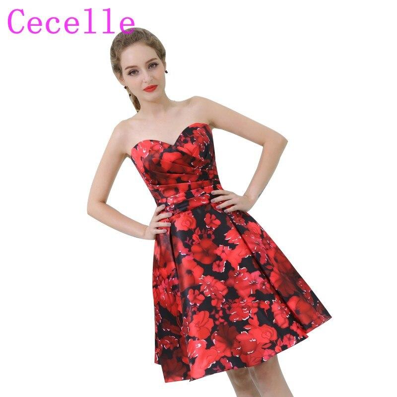 2018 New Designer Short Red And Black Floral Print Cocktail Dresses
