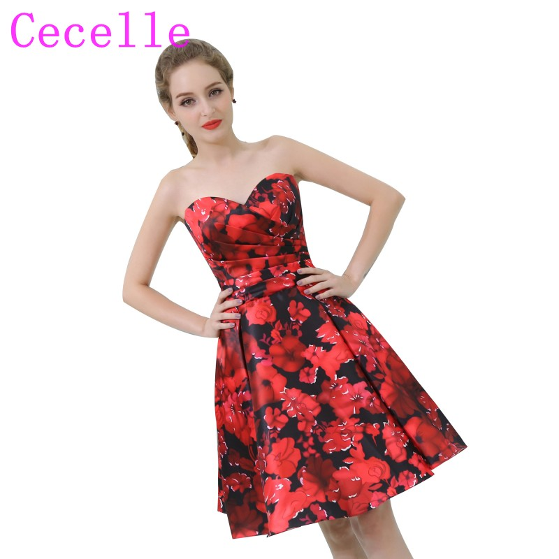 cbfc681d77 2019 New Designer Short Red and Black Floral Print Cocktail Dresses  Sweetheart Knee Length Pleats Top Semi Formal Cocktail Party