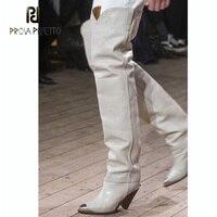 Prova Perfetto fashion metal pointed toe thigh high boots women rivet stud slip on short boots tassel decor spike high heel boot