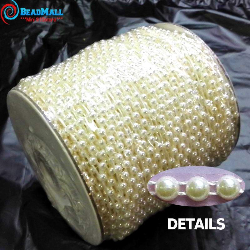 50M/Roll 4mm Flat Back Plastic Pearl Trim Ivory / White