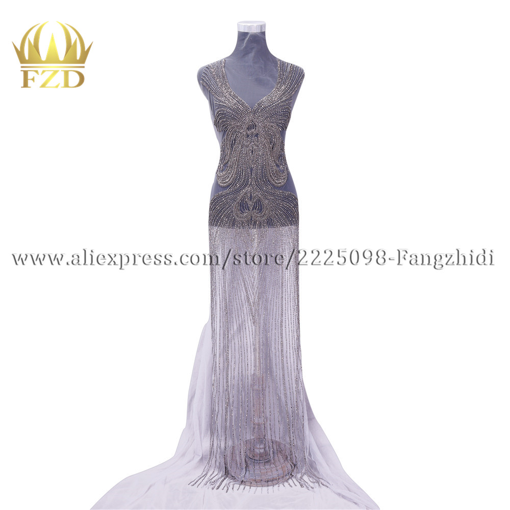 FZD 1 Set Bodices Applique patches Shiny sewing rhinestone trimming fabric embroidered applique crystal appliques for dress