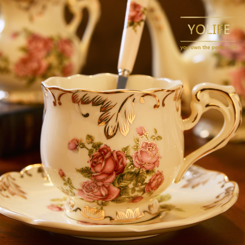 Yolife Ceramic <font><b>Coffee</b></font> <font><b>Cup</b></font> and Saucer Handpainted Rose <font><b>Porcelain</b></font> Tea <font><b>Cup</b></font> Set with Spoon Classic Drinkware Gift image