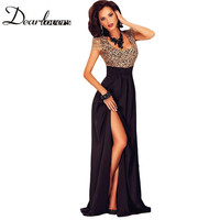 Amazing Gold Lace Overlay Slit Maxi Evening Gown LC60809