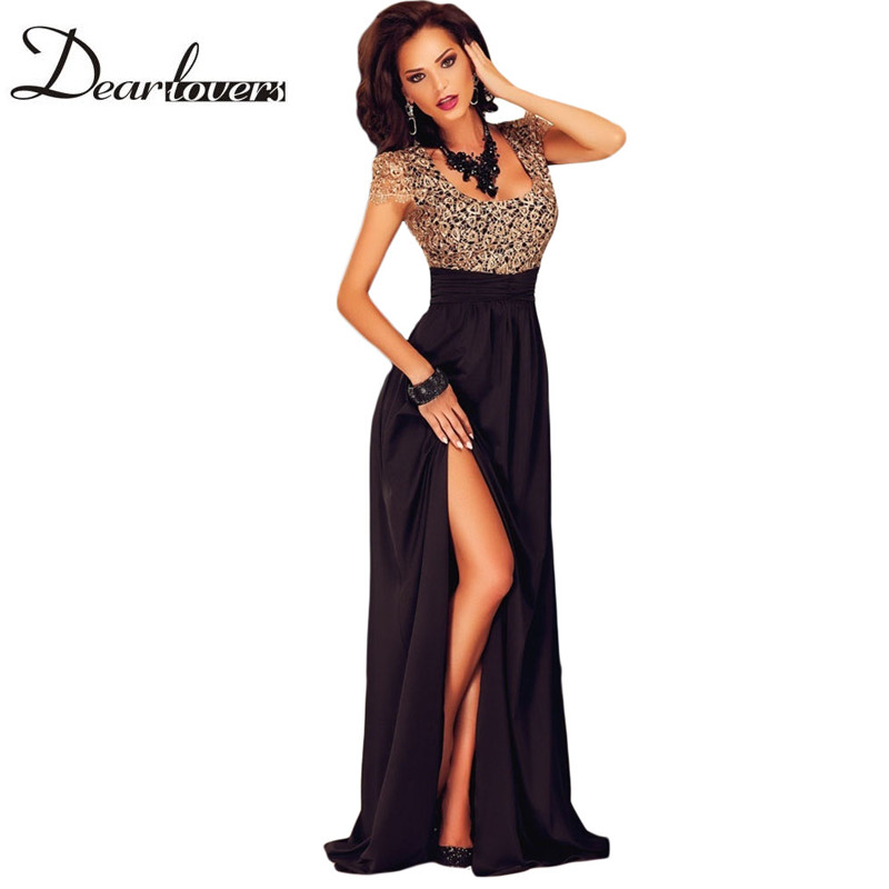 Buy Cheap Dear lover Summer Spring 2017 Women Special Occasion Dresses Short Sleeve Gold Lace Slit Long Maxi Evening Party Gown LC60809