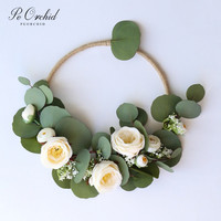 PEORCHID Green Eucalyptus Flowers Wedding Hoop Bouquet Bride Hoop Wreath Bridesmaid Gift Bridal Bouquet Floral Wall Decor 2019