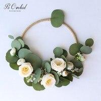 PEORCHID Green Eucalyptus Flowers Wedding Hoop Bouquet Bride Hoop Wreath Bridesmaid Gift Bridal Bouquet Floral Wall Decor 2019