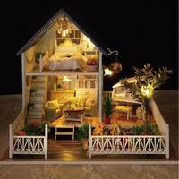DIY Nordic Hoilday Wooden Villa Dollhouse Home Decoration Crafts Miniature Children Handcraft Building Model Kits Doll House