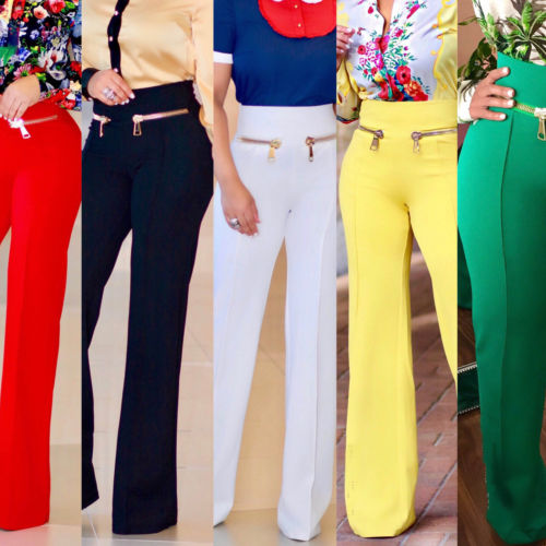 Stylish Women High Waist Wide Leg OL Career Long Pants Button Details Drapped Trousers