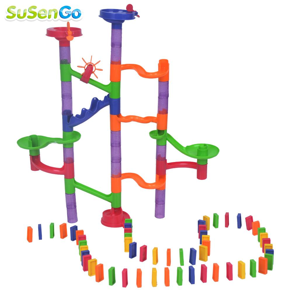 SuSenGo Marble Run Domino Bone Ball Tracks Game Maze Balls Children Puzzle Building Enlighten Kids Gifts Toys 100 Pieces 3d magical coin intellect maze ball kids amazing balance logic ability toys educational iq trainer game for kids chirstmas gifts