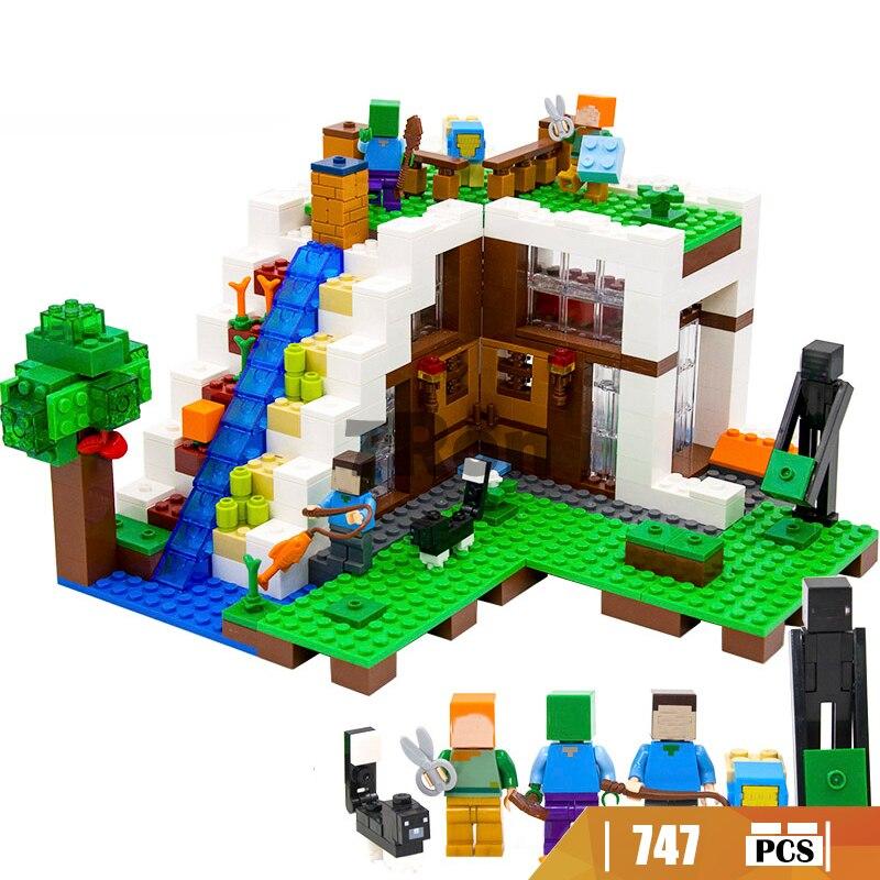 Compatible Avec Lego 21134 Mon Mondes Minecraft 10624 Cascade Maison Modele Building Blocks Set Enfants Briques Jouets De Noel Cadeau Aliexpress