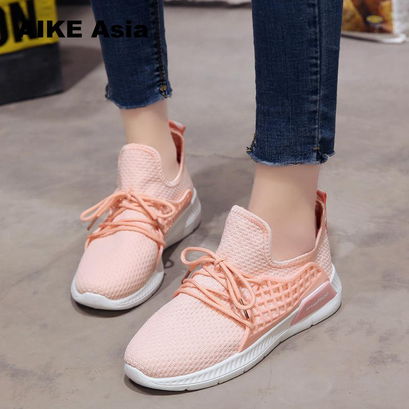 2018 Spring And Summer New White Shoes Fashion Flat Shoes Women Ladies Shoes Female Sneakers Casual Air Mesh Lace-up # A-833
