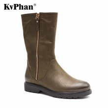 KvPhan Polished Toe Genuine Leather Women Boots Motocycle Thick Wool Fur Mid calf Boots Square Heels Full Grain Leather Shoe